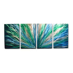 Miles Shay - Metal Wall Art Decor Abstract Contemporary Modern Sculpture- Radiance Blue Green - This Abstract Metal Wall Art & Sculpture captures the interplay of the highlights and shadows and creates a new three dimensional sense of movement as your view it from different angles.