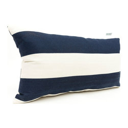 Majestic Home - Outdoor Navy Blue Vertical Stripe Small Pillow - Add a splash of color and a little texture to any environment with these great indoor/outdoor plush pillows by Majestic Home Goods. The Majestic Home Goods Small Pillow will add additional comfort to your living room sofa or your outdoor patio. Whether you are using them as decor throw pillows or simply for support, Majestic Home Goods Small Pillows are the perfect addition to your home. These throw pillows are woven from Outdoor Treated polyester with up to 1000 hours of U.V. protection, and filled with Super Loft recycled Polyester Fiber Fill for a comfortable but durable look. Spot clean only.