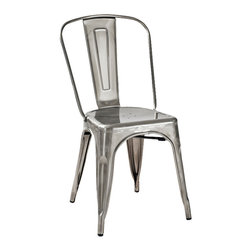 """Crosley Furniture - Crosley Furniture Amelia Metal Cafe Chair in Galvanized - Set of 2 - Originally made famous in the quaint bistros of France, these midcentury replicas of original Cafe seating will offer a dose of nostalgia combined with careful consideration for your wallet.  This inspired revival evokes a sense of a true vintage find. The Amelia collection is available in a variety of colors, including our unique galvanized finish. This raw steel look is hands prepared to enhance the inherent tones of the metal. Designed to acquire an aged patina, the galvanized finish will naturally rust over time, giving it a unique industrial """"relic"""" look. (Sold in Pairs)"""