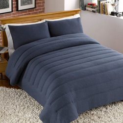 Keeco, Llc - Jersey Channel Stitch Comforter and Sham Set in Navy - Bring a casual and relaxed feel to your bed with this cotton-blend jersey comforter set. This comforter's super-soft fabric is enhanced with channel stitching for a stylish way to outfit your bed in total comfort.