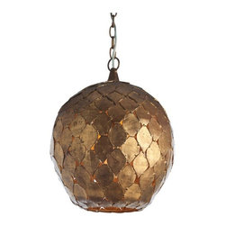 Osgood Iron Pendant Light Fixture Arteriors Home Antique Gold Leaf Moroccan - Hand-forged and painted in antique gold leaf, the Osgood Iron Pendant by Arteriors would make a statement in any home. Not quite oval, the shape is quite feminine and unique.