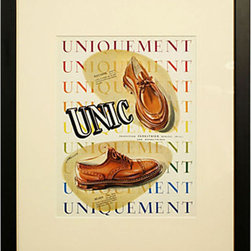 1940s French Shoe Advertisement - Bring some original French flair to your decor. This matted and framed print of a 1940s man's shoe advertisement adds a classic, handsome touch.