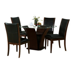 "American Eagle Furniture - 470DT & 470CH Dark Walnut Wood With Black Vinyl 5 Piece Dining Set - The 470DT & 470CH dining set has a traditional look with a modern flair that works with any decor.The table features a round glass top with a 48"" diameter. The base is crafted from dark walnut finished woof with a unique flared out design that adds to the overall look. The chairs are crafted from solid wood products with a matching dark walnut finish. They come upholstered in a beautiful black vinyl material with high density foam within inside. The dining set consist of a dining table and four chairs only."