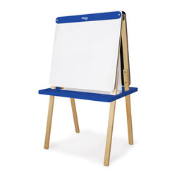 P'kolino - Little One's Easel, Cobalt - Do you find your household notepads all filled up with your child's sketches? Maybe it's time to give the little artist her own creative space. Much bigger than a notepad but small enough for little hands, this child-size easel provides endless creative possibilities with a paper roll on one side and a chalkboard on the other. Got two little artists? They can each draw happily on one side.