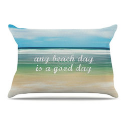 "Kess InHouse - Sylvia Cook ""Any Beach Day"" Coastal Typography Pillow Case, Standard, 30""x20"" - This pillowcase, is just as bunny soft as the Kess InHouse duvet. It's made of microfiber velvety fleece. This machine washable fleece pillow case is the perfect accent to any duvet. Be your Bed's Curator."