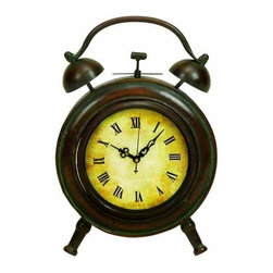 """Antiqued Metal Alarm Clock 13505 - Antiqued Metal Alarm Clock features vintage worn metal look, with antique style alarm and roman numeral clock face. 10"""" H x 7"""" W"""