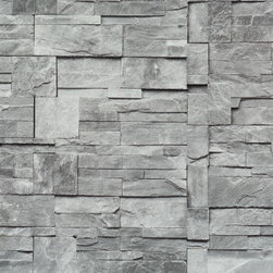 Walls Republic - Block-Stone Grey Wallpaper R1875 - Block stone is the perfect narrative to stone tiling that will bring the modern look of the faux stone to your living room. Thisfaux finish pattern has a strikingly realistic aesthetic for a three-dimensional look that won't go unnoticed!