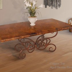 Alexander Dining Table by Mathews & Co. - Table Base Material: Solid 1inch hand-forged steel