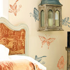 Chinoiserie Butterflies Furniture Stencil - Chinoiserie Butterflies Wall and Furniture Stencil from Royal Design Studio Stencils. These charming Asian butterly stencils can be used on walls furniture and fabric. They fit well in nurseries, children's rooms, craft rooms and guest rooms.