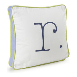 Serena & Lily - On Sale Serena & Lily Sprout and Indigo Letter Pillow - Letter R - Quick Ship Serena Lily Sprout and Indigo Letter Pillow Letter R