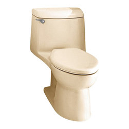 "American Standard - American Standard 2004.014.021 Champion 4 Elongated One-Piece Toilet, Bone - American Standard 2004.014.021 Champion 4 Elongated One-Piece Toilet, Bone. This elongated combination toilet features a vitreous china construction, an EverClean surface, a 4"" piston action Accelorator flush valve, a 2-3/8"" fully-glazed trapway, an elongated siphon action bowl, and a 12"" Rough-in. This model measures 29-3/4"" by 17-3/4"" by 28-1/8"", and it comes with the bolt caps, but no seat."