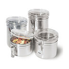 OGGI - Clamp Canister Set - This lovely Canister Set by Oggi keeps your food fresh longer in contemporary style. You'll enjoy keeping your flour, sugar, cookies, spices all neatly contained and easily accessible within these airtight, stainless steel canisters.