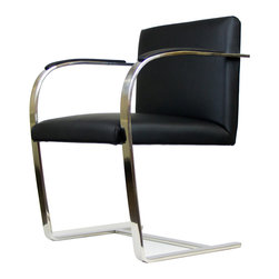 IFN Modern - Cantilever Chair-Black - 100% Italian Leather - This chair inspired by a design from the 1930's city of Brno has been reproduced with touches of a modern flair. Perfect for office seating, especially receptions, this chair is a must for contemporary office decor. â— Product is available in 100% Full Grain Italian Leather or 100% Full Grain Aniline Leatherâ— This product DOES NOT use vinyl, PU or man-made forms of leather on ANY parts of the chair cushions.â— Frame is constructed of Solid Stainless Steel.â— Ergonomic Designâ— High Density Foam also fire-resistantâ— Leather Armrest Pads (hidden screws for cleaner look)