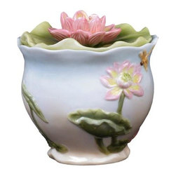 US - 6 Inch Pale Blue and White Glazed Porcelain Pink Lotus Sugar Bowl - This gorgeous 6 inch pale blue and white glazed porcelain pink lotus sugar bowl has the finest details and highest quality you will find anywhere! 6 inch pale blue and white glazed porcelain pink lotus sugar bowl is truly remarkable.