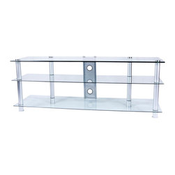 Tier One Designs - Clear Glass and Aluminum TV Stand with Wire Management - 8mm tempered clear glass. Cord management optional. Easy to assemble. Accommodates a 60 in. flat panel TV. Holds up to 150 pounds. 60.5 in. W x 17.75 in. L x 21.75 in. H. Assembly instructionsElegance and function combine to give this TV stand a striking appearance.   Plasma/LCD TV Stand features two thick 8mm clear tempered glass shelves that provide ample storage space for your DVD, docking station, gaming and/or stereo components.   The cord management system reduces unsightly wires.  Accessories not included.