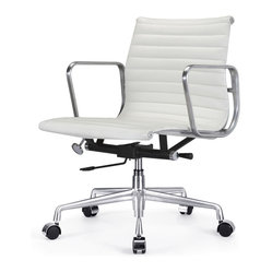 "Meelano - M341 Eames Style Aluminum Group Office Chair in White Leather - Add a healthy pinch of style to your nine-to-five with this sleek Eames-inspired ergonomic chair. A classic of modern design, it's crafted in rich Italian leather and stainless steel for a minimalist look that's majorly attractive. Its ergonomic features and distinctive ribbed seat make it a ""must"" for your harmonious and healthy office."