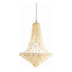 Arteriors - Southampton Large Chandelier - Bring radiant light and natural charm to your favorite space with this unusual fixture. Strands of pearly seashells drape from an antique silver-leafed iron frame for a fun and fabulous effect.