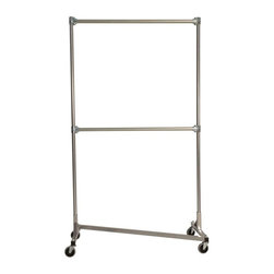 Z Racks - Heavy Duty Z-Rack Double Rail Garment Rack w - Base Color: Silver. 500lb capacity. 14 gauge, 48 in. Long steel base (Environmentally safe powder coated finish). 16 gauge, 84 in. upright bars and double hang rails. 1 5/16 outside diameter upright bars and hang rail. Grey non-marking soft rubber with TP center 4 in. casters. Made in the USA. Assembly Required. 51 in. L x 23 in. W x 91 in. HSome racks claim to be able to withstand the weight of two rows, but eventually give way to the pressure. Our rack safely holds two racks of clothing by placing them on top of each other, centering the weight. And everything about this Z-Rack is heavy duty, from the wheels to the uprights. It�۪s ideal for your shop, business, or home storage needs.