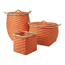 Rope Bin Collection, Orange - Orange rattan is already calling me, but the jute rope detail really puts these over the top.