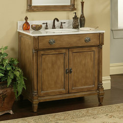 """36"""" Regency Place Vanity for Undermount Sink - The 36"""" Regency Place Vanity features a relaxed, yet refined design style. The hand-applied glaze finish is accented with lightly distressed areas. Combine with the matching Regency Place Vanity Mirror to complete your collection, sold separately."""