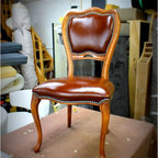 Chair - Classy chair upholstered in brown leather