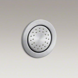 KOHLER - KOHLER WaterTile(R) round 27-nozzle bodyspray with stimulating spray - WaterTile bodysprays lie virtually flush to the wall and can be placed almost anywhere. This round 27-nozzle configuration delivers a high-volume, invigorating spray for a rejuvenating hydrotherapy experience.