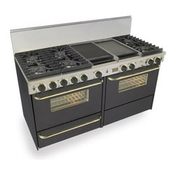 "FiveStar - TPN-637-7W 60"" Freestanding Dual Fuel-Liquid Propane Range With 6 Sealed Ultra H - Six sealed Ultra High-Low burners with one-piece continuous grates and two Lodge Cast Iron griddlegrill and full-size side-by-side dual-fuel gas and electric ovens make it simple to prepare multi-dish courses - and when you39re hosting a crowd smart ..."