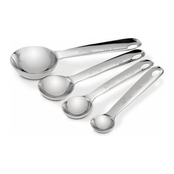 All-Clad - All-Clad Measuring Spoon Set - The beautifully crafted stainless steel measuring spoon set comes chained together to keep the entire set easily accessible. Includes 1/4, 1/2, 1 teaspoon and 1 Tablespoon measures. The rounded spoons are designed to glide into small openings of spice jars and small containers. Each spoon features the engraved All-Clad logo and easy-to-read size markings on the handle.