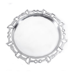 """Arthur Court Designs - Equestrian 12"""" Round Tray - Wash by hand with mild dish soap and dry immediately. Product not intended as cookware. Can withstand 350 F. Refrigerator and freezer safe."""