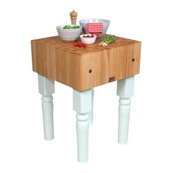 John Boos - Kitchen Butcher Block Table (24 x 24 x 10 (20 - Finish: 24 x 24 x 10 (205 lbs.) - Cherry StainIncludes board cream with beeswax. Base in alabaster finish. End grain construction. Warranty: One year against manufacturing defects. Made from solid hard rock maple. Butcher block: 10 in. H. Stands height: 34 in. H. Care Instruction