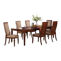 "Acme - 7 PC Shelton Contemporary Collection Walnut Finish Wood 4 Leg Dining Table Set - 7-Piece Shelton contemporary collection walnut finish wood 4 leg dining table set with fabric upholstered chair seats and backs. This set includes the Table , 6 - side chairs. Additional chairs and Hutch and buffet also available separately at additional cost. Table measures 42"" W x 72"" L (108"" L with 2 - 18"" Leaves included). Side chairs measure 43"" H to the back. Some assembly required."