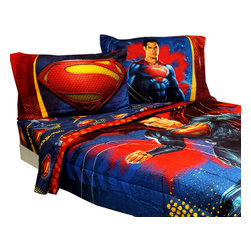 Store51 - Superman Full Bedding Set Super Steel Comforter Sheets - Features: