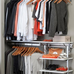 Arrange A Space - Closet System with Adjustable Shelves in Whit - Choose Size: 60 in. W x 11.75 in. D x 84 in. H (89 lbs.)Includes hardware. Anodized aluminum rail. Rail mounts easily onto the wall. Easy to installs into wood studs. 0.75 in. shelf thickness with industrial grade particle board. Commercial grade steel tubing hang rod in polished chrome. Made from fine wood grain melamine and metal. Height adjusts from 80 in. to 84 in.Arrange a Space's patented closet systems provide you with a unique and innovative solution for all of your space and storage needs. Created as a more flexible and versatile option for closets and storage areas than the common white wire or wood shelf, rod systems of the past.