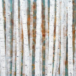 Silver Birch Wood Artwork - Large abstract painting of silver birch trees in woodland during autumn in textured subtle tones. There is something about Silver Birch, the way the light plays on it's vertical lines. This is a striking piece of work for any contemporary environment.  Acrylic on 9mm mdf panel with 18mm batons on the reverse to float it away from the wall for contemporary style.