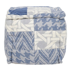 Wool Pouf Ottoman POUF - With a combination of basket weave, houndstooth and chevron patterns in blue gray tones accented with off white, this square pouf will be the perfect accent piece.
