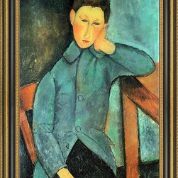 """Art MegaMart - Amedeo Modigliani A Boy - 16"""" x 24"""" Framed Premium Canvas Print - 16"""" x 24"""" Amedeo Modigliani A Boy framed premium canvas print reproduced to meet museum quality standards. Our Museum quality canvas prints are produced using high-precision print technology for a more accurate reproduction printed on high quality canvas with fade-resistant, archival inks. Our progressive business model allows us to offer works of art to you at the best wholesale pricing, significantly less than art gallery prices, affordable to all. This artwork is hand stretched onto wooden stretcher bars, then mounted into our 3 3/4"""" wide gold finish frame with black panel by one of our expert framers. Our framed canvas print comes with hardware, ready to hang on your wall.  We present a comprehensive collection of exceptional canvas art reproductions by  Amedeo Modigliani ."""