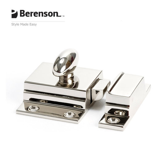 5148-14-P Polished Nickel Cabinet Latch by Berenson Hardware - Polished Nickel solid brass cabinet latch. Return to glamor with Polished Nickel, a rich metallic finish that coordinates well with many faucets and fixtures. This finish is ideal for achieving a high end look in traditional or transitional style kitchens and baths.