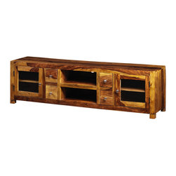 Artemano - Ella TV Unit Made of Rosewood, Light Brown - Grand and opulent, the Ella TV Unit is the ultimate living room media console. Six shelves and four pullout drawers create tons of storage space for all of your electronic gadgets and accessories. Available in three finishes, each smooth rosewood TV stand has a distinct grain pattern and blend of warm, natural colors.