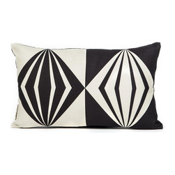 LaCozi - Black and Cream Diamond Oblong Pillow - This oblong pillow almost presents an optical illusion with its inverse colors. The diamond pillow is a fun addition to any couch or bed in need of a little attitude.