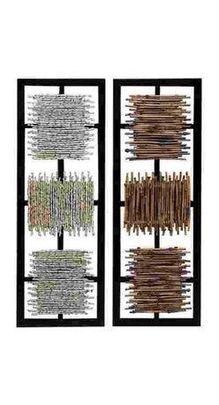 "Wood Wall Decor Panels 13937 - Wood Wall Decor Panels features two metal framed contemporary panels each with square wood pieces in various colors. 38"" H x 13"" W"