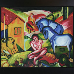 "overstockArt.com - Franz Marc - The Dream Oil Painting - The Dream is a handmade oil painting originally created by Franz Marc in the 1900's. It would make a wonderful gift for anyone who loves animal art. Franz Marc was born on February 8, 1880, in Munich, Germany. He studied at the Munich Art Academy, and in the early years of the Twentieth Century became an influential figure in the birth of abstract art. In 1911 Marc founded the almanac ""Der Blaue Reiter"" along with Wassily Kandinsky, and was a principal member of the First German Salon Automne in 1913. Much of his work was based upon exuberant color and profound emotional and spiritual states. Franz Marc saw animals as innocent beings in harmony with nature. He attempted to paint the world from the animal's perspective. Marc volunteered for service in World War I, and was killed near Verdun, France, on March 4, 1916. Despite his early death at the age of thirty-six, Marc was responsible for some of the most important pieces of the Expressionist movement. Why not grace your home with this reproduced masterpiece? It is sure to bring many admirers!"