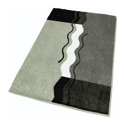 "Small Non Skid - Modern - Grey Bath Rug (21.7"" x 25.6"") - Contemporary small anti skid bathroom rug for a small space or perfect in front of a toilet instead of a contour toilet rug.  Machine washable .98in high dense pile non-slip / non-skid backing that will not break down.  Unique sculpted bath rug with three beautiful grey tones,  black and white color range.  Designed and produced in Germany"