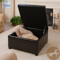 Christopher Knight Home - Christopher Knight Home Forrester Espresso Bonded Leather Square Storage Ottoman - Add style and function to your living room with this multipurpose leather storage ottoman. The bonded dark espresso brown leather upholstery makes it an attractive piece of furniture, and the storage space adds a touch of practicality.