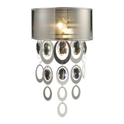 "Elk Lighting - Parisienne Modern Chrome & Crystal Wall Sconce - This High Fashion Wall Sconce Features Silver Leaf Finished Metal Ovals That Surround Crystal Elements. This Metal And Crystal Assembly Cascades Harmoniously From The Top Of The Fixture Through A Translucent Chrome Shade That Reflects Light Downward For Added Drama. This Sconce Weighs Three (3) Pounds and Extends From the Wall Six Inches (6""). It accomodates one (1) 60 Watt Bulb With A Candelabra Base, Which Is Not Incuded."