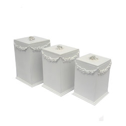 Charn&Co. - Bella Canister Set - Bella Canister Set for storage has floral patterns and slightly distressed shabby chic style