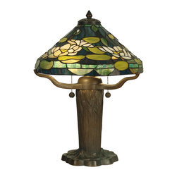 Dale Tiffany - Dale Tiffany TT10032 Water Lily Tiffany Replica Table Lamp - Shade: Hand Rolled Art Glass