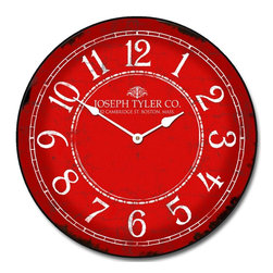 "Tyler - Balton Wall Clock, Red, 24"" - Vintage Style Clock"