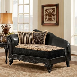 Chelsea Home Gwendolyn Upholstered Chaise - For a traditional design made contemporary, the Chelsea Home Gwendolyn Upholstered Chaise is a perfect choice. This chaise lounge features a hardwood frame and elegantly carved wood trim in deep ebony. Its high-density, Dacron-wrapped foam cushion is upholstered in a two-tone ebony and tan floral pattern. Black leather graces the rolled arm and back of this chaise. Two coordinating accent pillows make it extra luxurious.About Chelsea Home FurnitureProviding home elegance in upholstery products such as recliners, stationary upholstery, leather, and accent furniture including chairs, chaises, and benches is e most important part of Chelsea Home Furniture's operations. Bringing high quality, classic and traditional designs that remain fresh for generations to customers' homes is no burden, but a love for hospitality and home beauty. The majority of Chelsea Home Furniture's products are made in the USA, while all are sought after throughout the industry and will remain a staple in home furnishings.