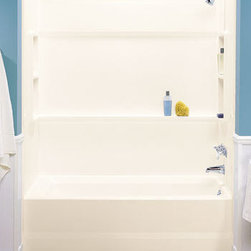 "Swanstone - Swanstone BA-3060010 White Tub Walls Veritek Bath Alcove Walls 30"" D x - Veritek Bath Alcove Walls 30"" D x 60"" W x 59 1/2"" HVeritek is Swanstone s affordable compression molded material with no surface coating to chip or crack. This non-porous, durable material will not mold or mildew. Choose from bathtubs, bath and shower walls, shower floors and utility sinks and basins. Swanstone BA-3060 Features:Kit Includes:One right side panelOne left side panelOne back panel with six factory installed wall mounting clipsComplete installation instructionsDesigned to fit bathtub area 30"" Deep, 60"" Wide, 59.5"" HighNails directly to studs for fast installation Sturdy interlocking system for one-piece appearance Panels easily fit through existing doorways and can be installed by one person Made of Veritek with no surface coating to chip or crack The BA-3060 is a 3-piece compression molded composite material with molded-in color and a natural gloss surface 1-1/2"" additional area required on outer edges of wall panels to accommodate nail-up flange"