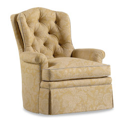 """Jessica Charles - O'Henry Swivel Rocker - Jentry Buff Fabric - Handmade in North Carolina using local, sustainable hardwood.  Artisan upholstery and custom fit cushions.  Eight-way hand tied coils.  Spring Plush seat cushion consists of a Marshall unit core made of individually pocketed coil springs surrounded by an ultracell foam box which is then completely wrapped in a thick layer of comfort bond fiber and covered in ticking.  Back cushion is made up of 2"""" hollow polyester fibers that are siliconized to cut down on friction between fibers, thus reducing clumping and matting.  Arm caps included."""